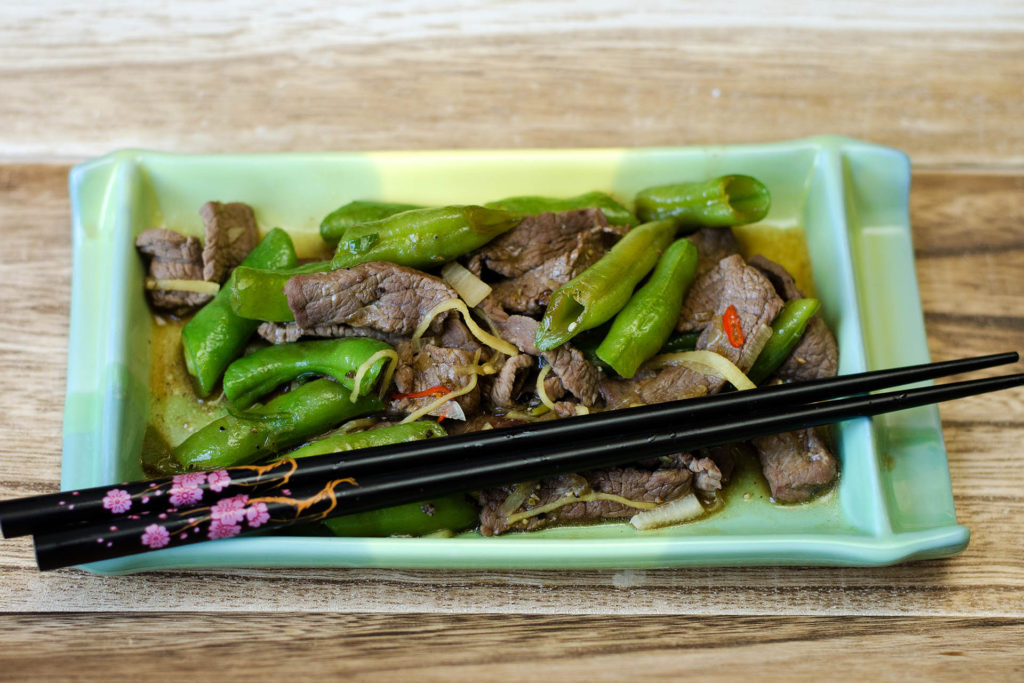 Rindfleisch Wokpiraten Style –  mit Ingwer und grünen Bohnen