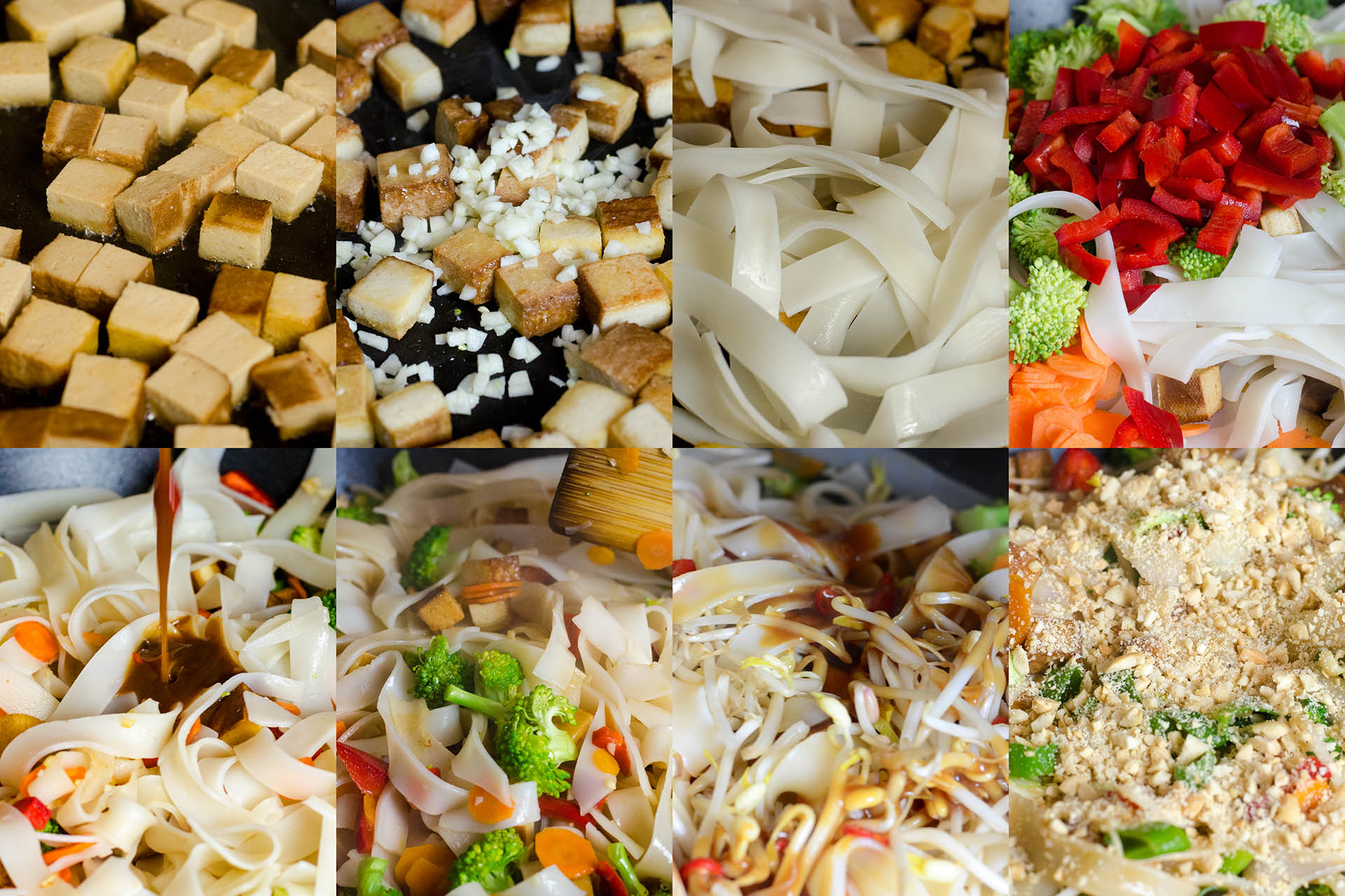 Zubereitungsschritte für das vegane Pad Thai