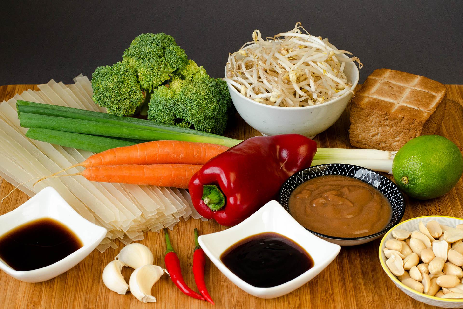Zutaten für das vegane Pad Thai