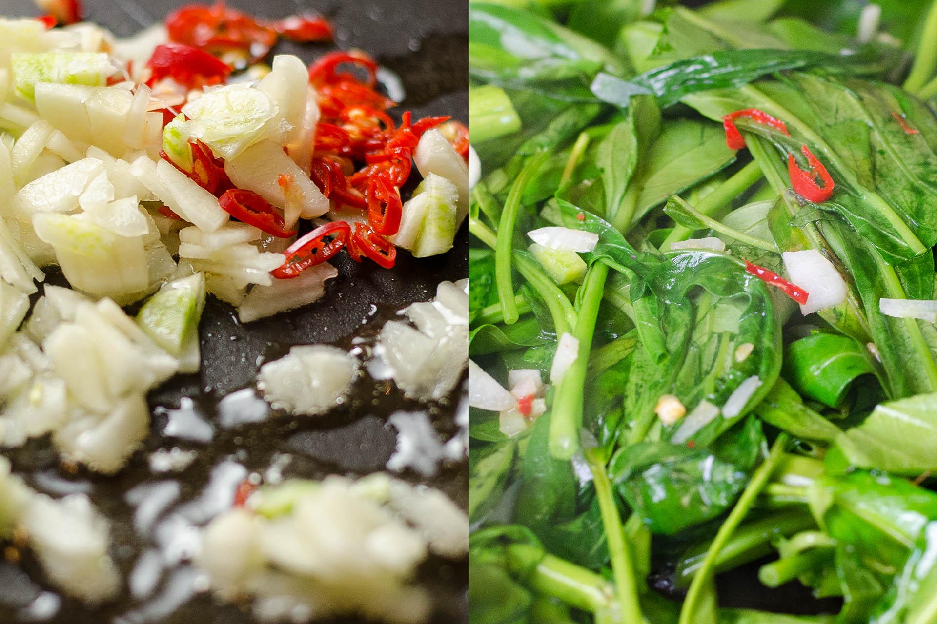 Zutaten für Pad pak bung fai daeng im Wok
