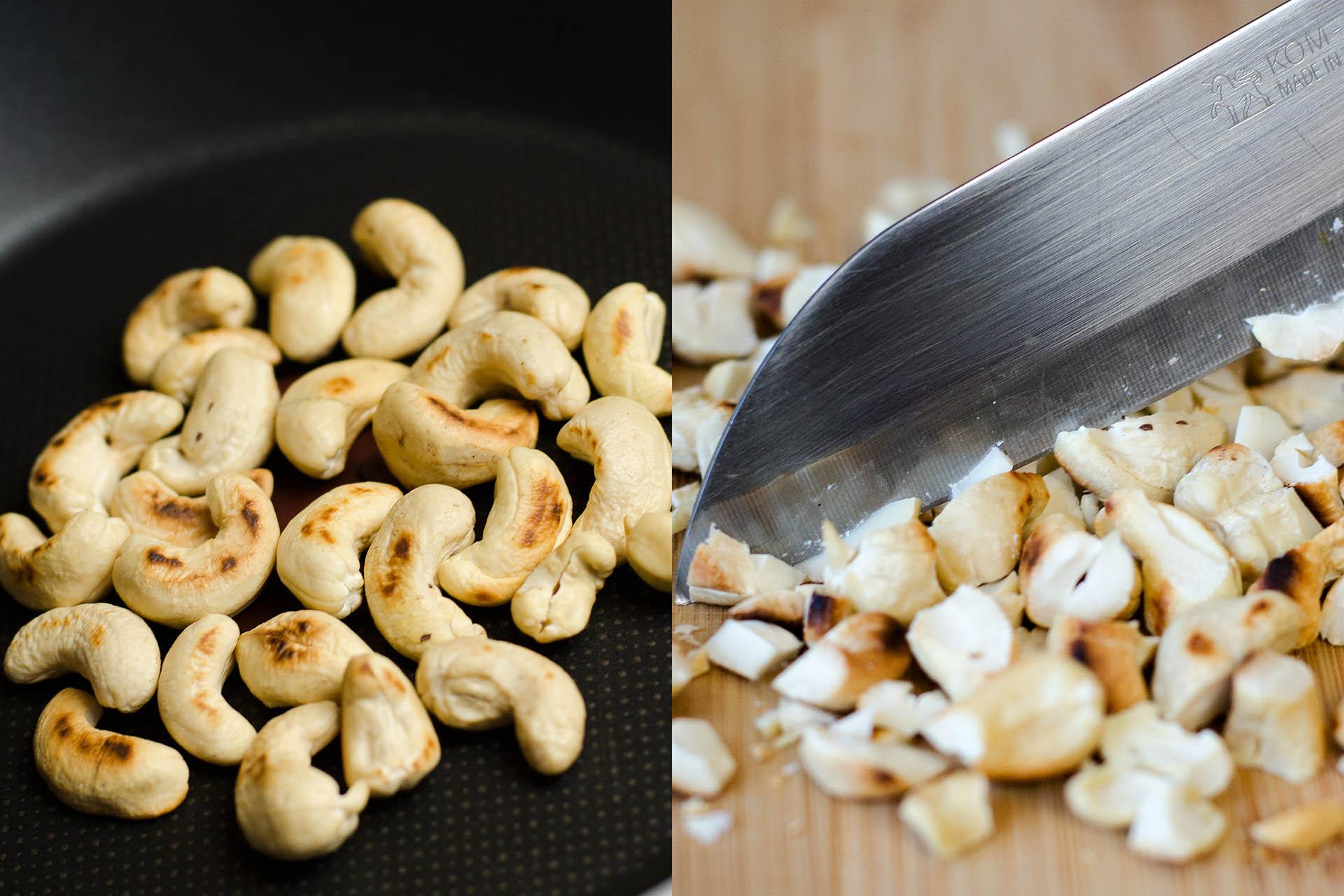 Cashewnüsse werden geröstet und gehackt