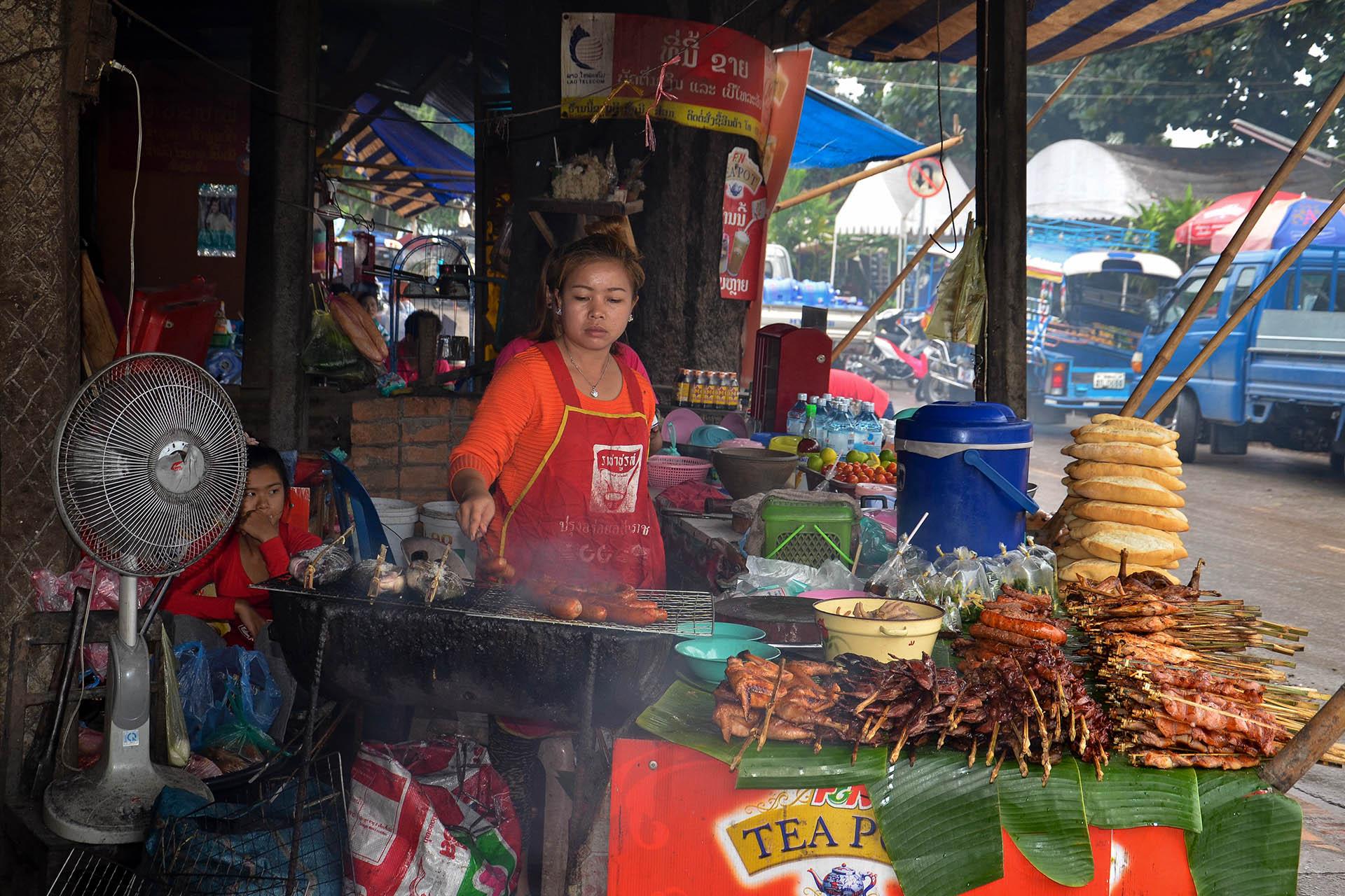 Grillstand in Luang Prabang