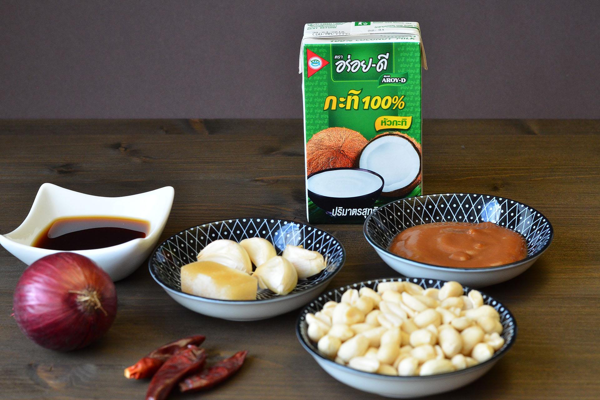Zutaten Erdnusssauce für veganes Gado Gado